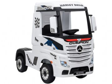Mercedes Benz Actros Artic HGV Lorry White 12v Licensed Ride On Truck + Parental Control